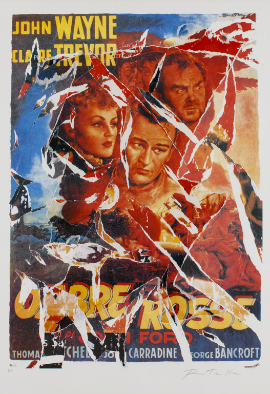 MIMMO ROTELLA (1918-2006)Ombre RosseMultiplo décollagecm 100x70Firma e...