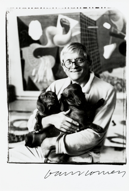 JIM MCHUGHDavid Hockney with his two dogs, Stanley and Boodgie,...
