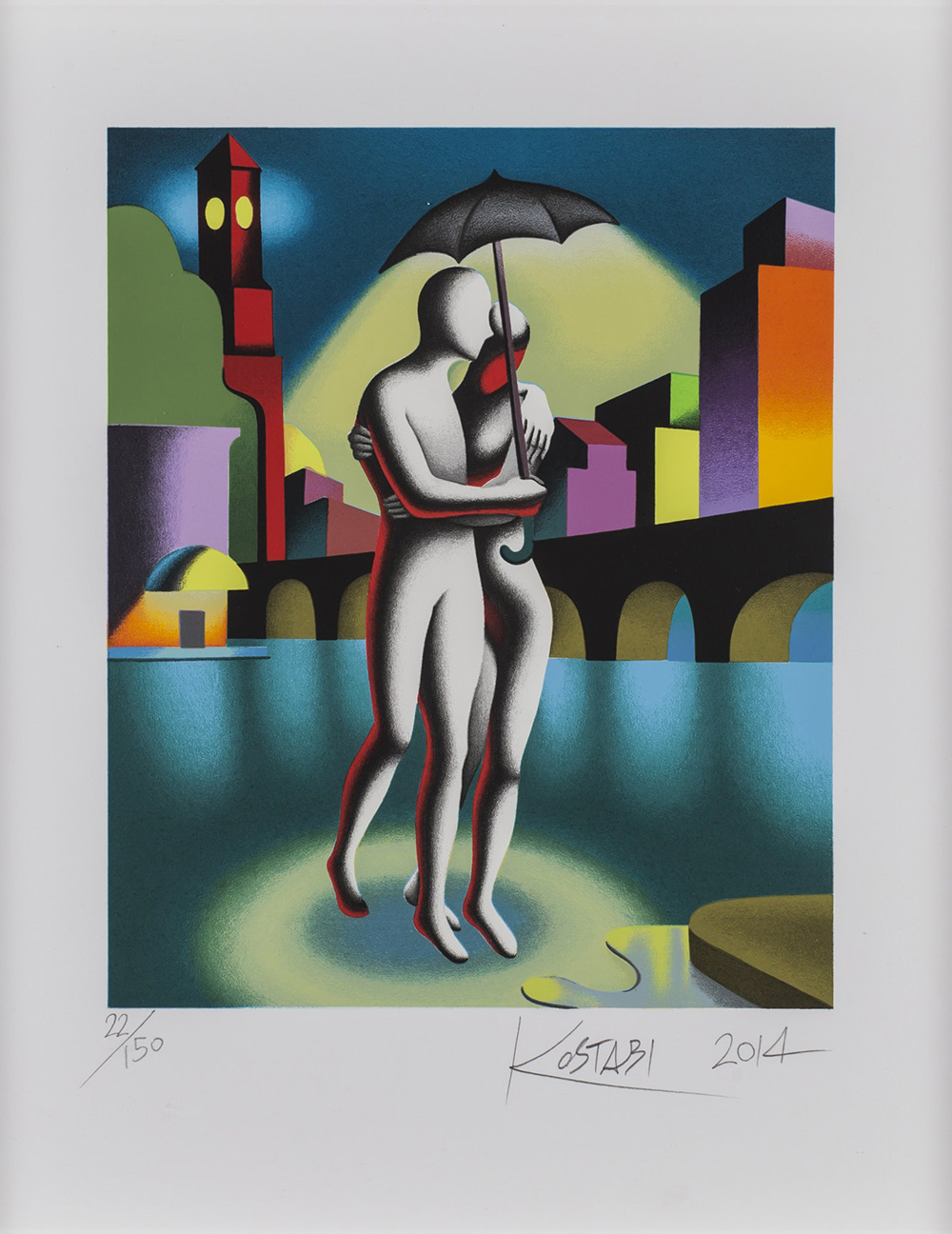 MARK KOSTABI (1960) Cloudy with the chance of love, 2014 Serigrafia a 36...